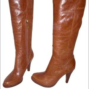 Beautiful Guess Pozina Boots in Cognac Brown.